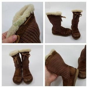 UGG Shoes - UGG Suburb Crochet Boots 7 Brown Tie Sheepskin 512